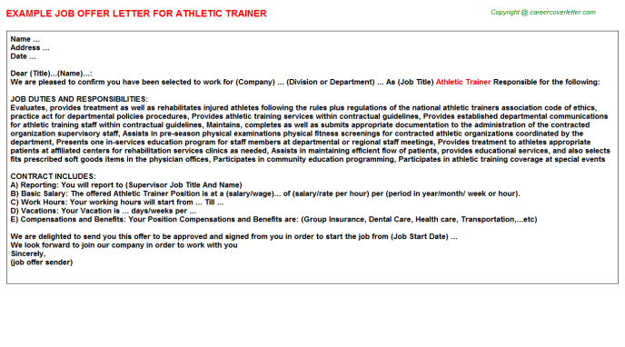 Athletic Trainer Offer Letter Template