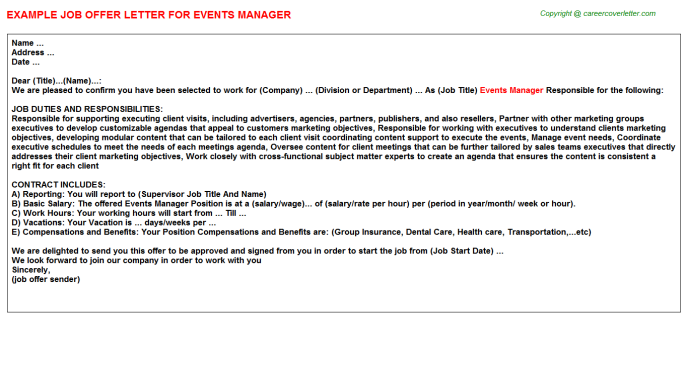 Events Manager Offer Letter Template