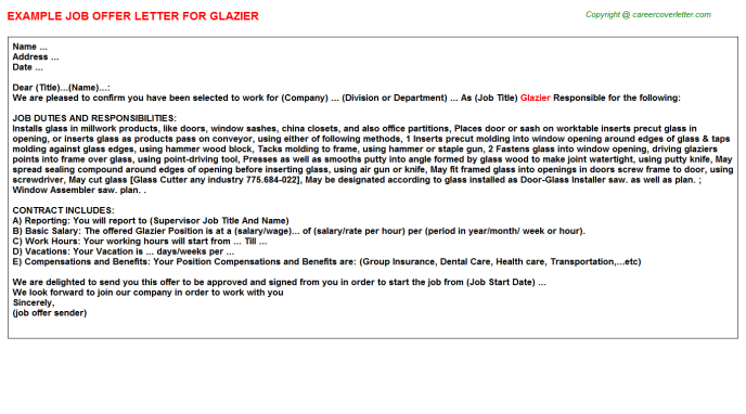 Glazier Offer Letter Template