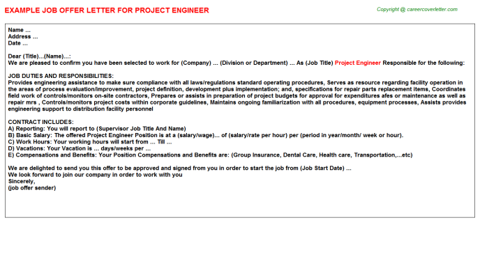 Project Engineer Offer Letter Template