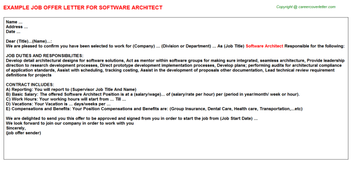 Software Architect Offer Letter Template