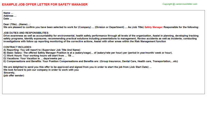 Safety Manager Offer Letter Template