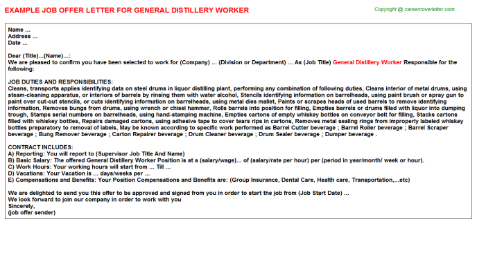 general distillery worker offer letter template