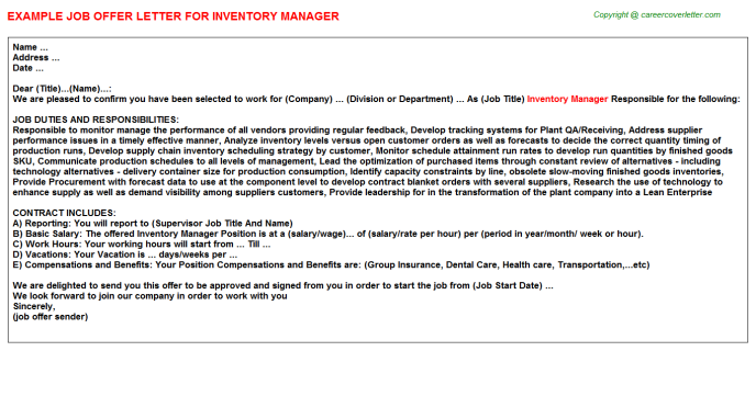 Inventory Manager Offer Letter Template