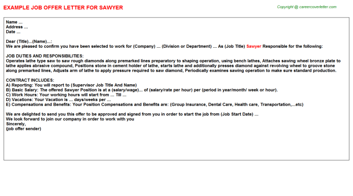 Sawyer Job Offer Letter Template