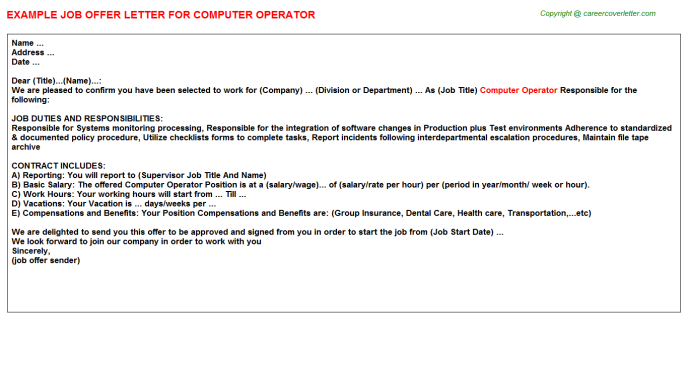 Computer Operator Offer Letter Template