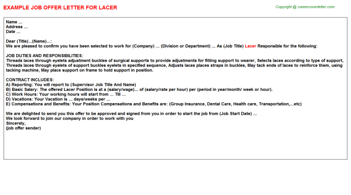 Lacer Offer Letter Template