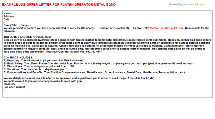 platen operator metal bond offer letter template