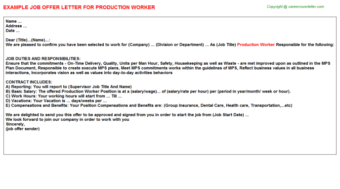 Production Worker Offer Letter Template