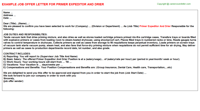 primer expeditor and drier offer letter template