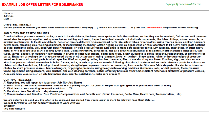 Boilermaker Job Offer Letter Template