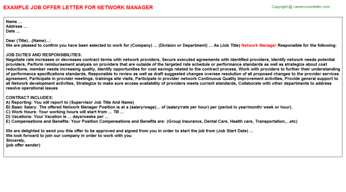 Network Manager Offer Letter Template