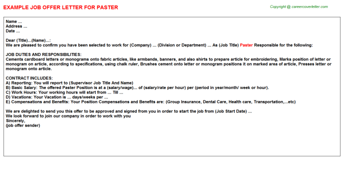 Paster Job Offer Letter Template