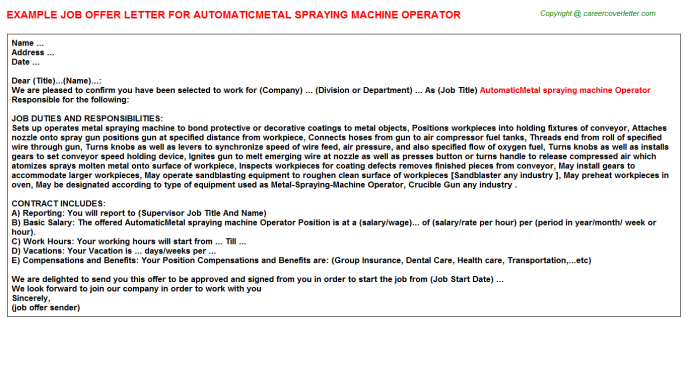 automaticmetal spraying machine operator offer letter template