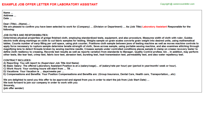 Laboratory Assistant Job Offer Letter Template