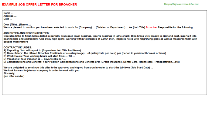 Broacher Job Offer Letter Template