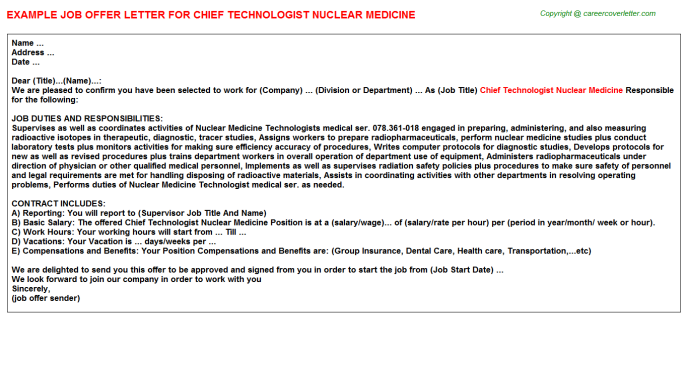 Chief Technologist Nuclear Medicine Offer Letter Template
