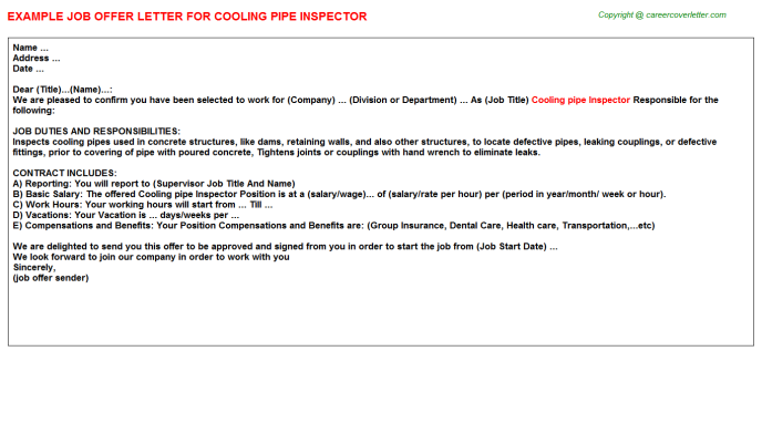 Cooling Pipe Inspector Offer Letters