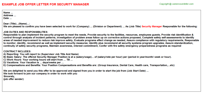 Security Manager Job Offer Letter Template