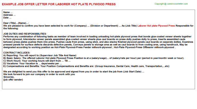 Laborer Hot Plate Plywood Press Offer Letter Template