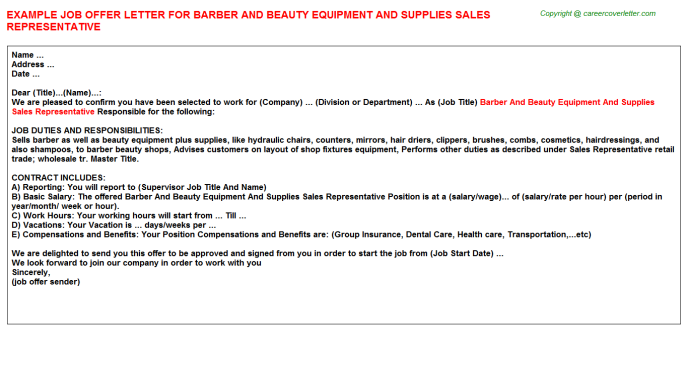 Barber And Beauty Equipment And Supplies Sales Representative Offer Letter Template