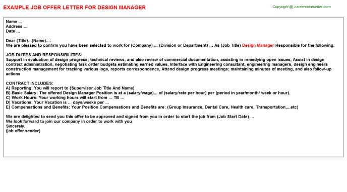 Design Manager Offer Letter Template