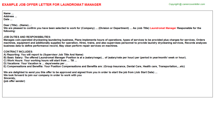 laundromat manager offer letter template