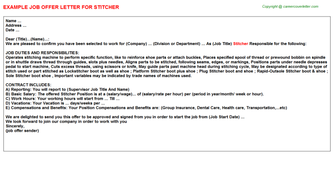 Stitcher Offer Letter Template