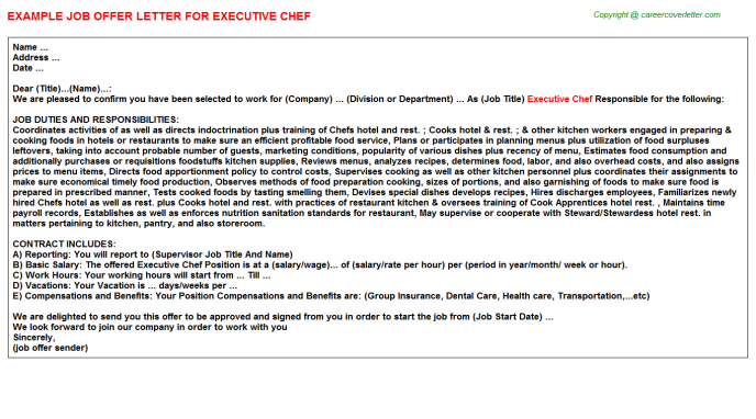 Executive Chef Offer Letter (#2551)