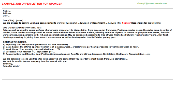 Sponger Job Offer Letter Template