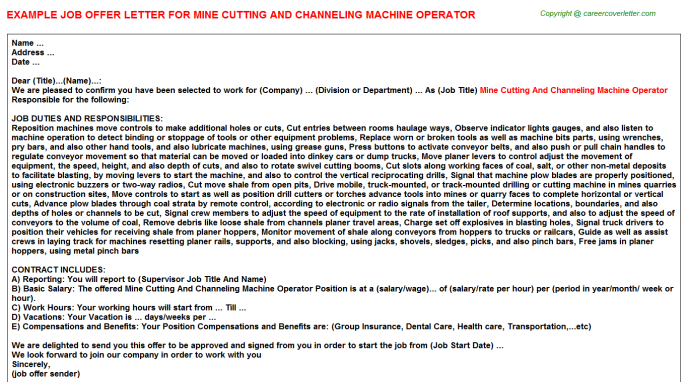 Mine Cutting And Channeling Machine Operator Offer Letter Template