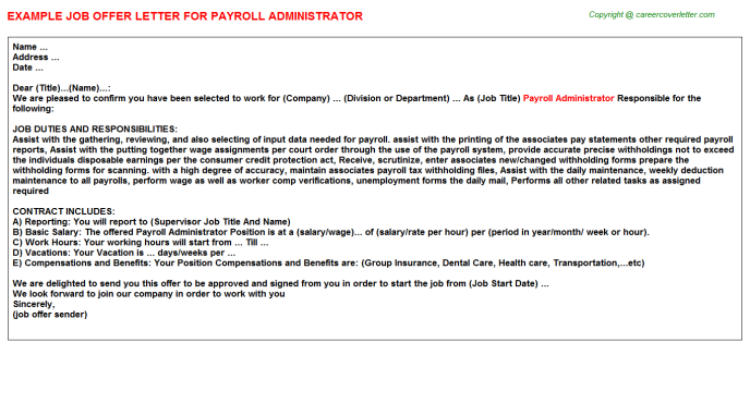 payroll administrator offer letter template
