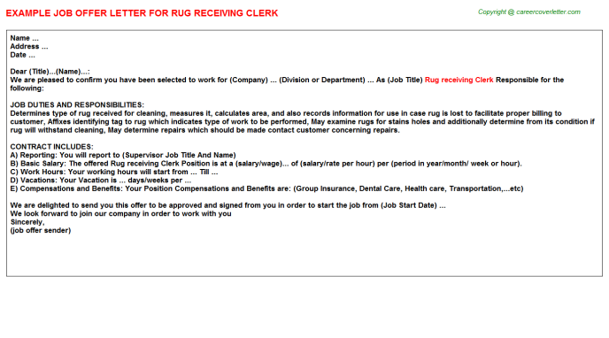 rug receiving clerk offer letter template