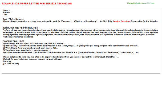 Service Technician Offer Letter Template