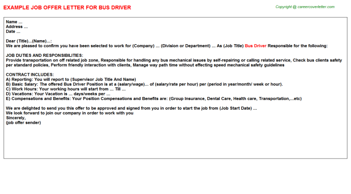 Bus Driver Offer Letter Template