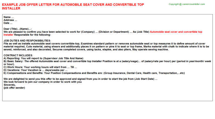 Automobile Seat Cover And Convertible Top Installer Offer Letter Template