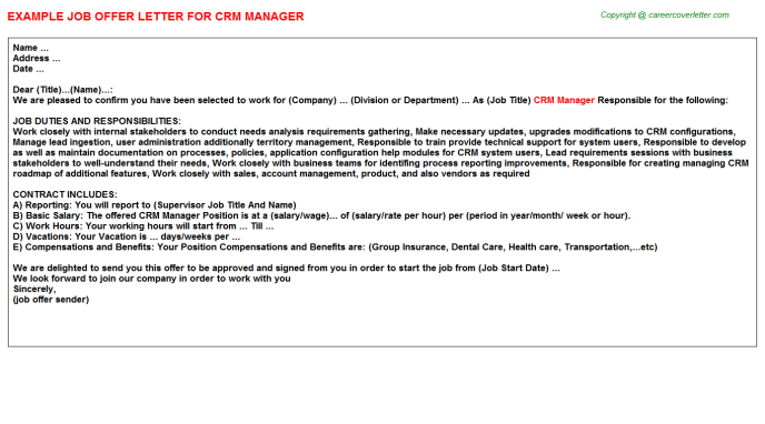 Crm Manager Offer Letter Template