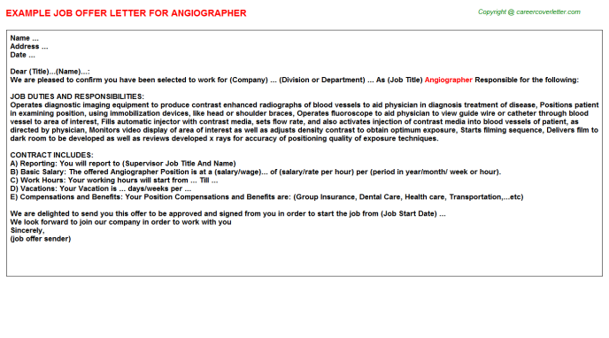Angiographer Offer Letter Template