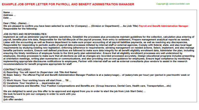 Payroll And Benefit Administration Manager Job Offer Letter Template
