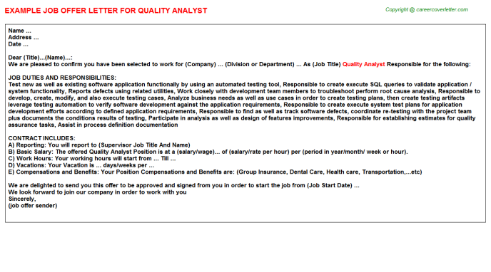 Quality Analyst Offer Letter Template