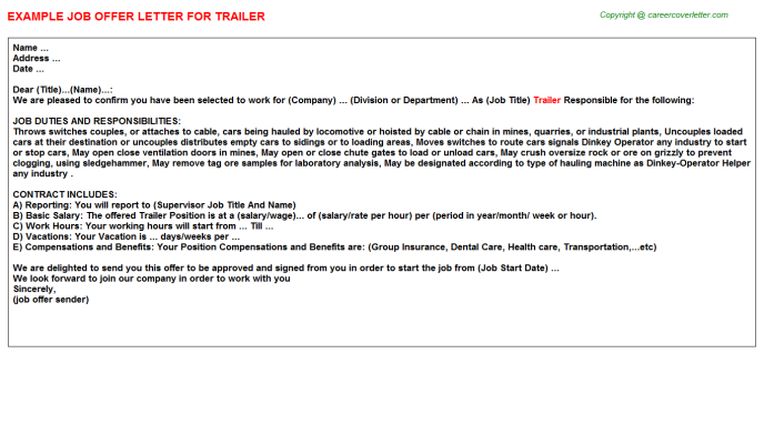 Trailer Offer Letter Template