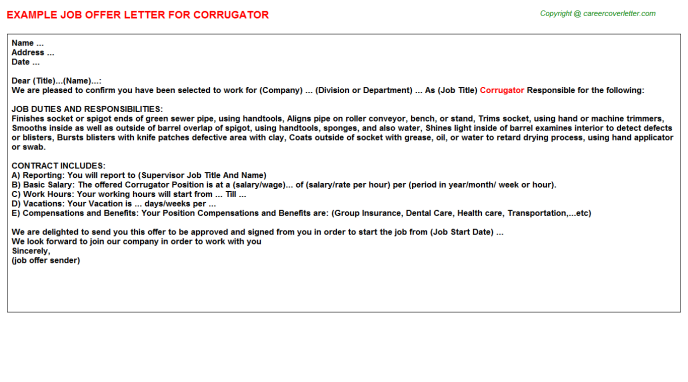 Corrugator Offer Letter Template