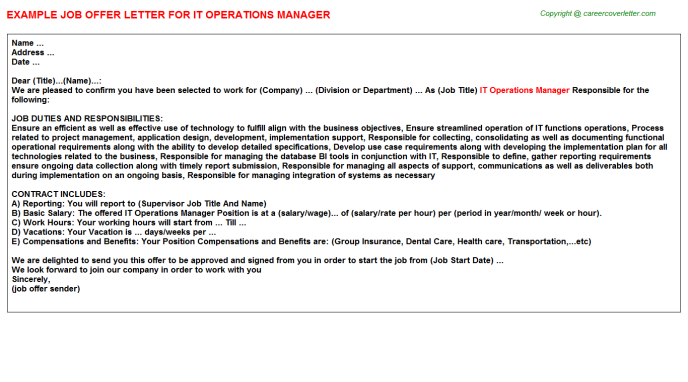 IT Operations Manager Offer Letter Template