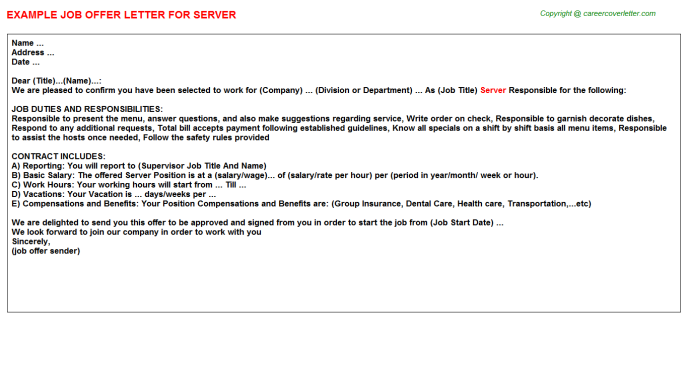 Server Job Offer Letter Template