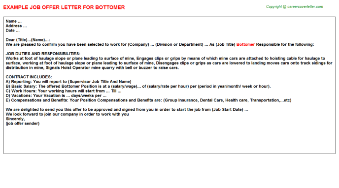 Bottomer Job Offer Letter Template