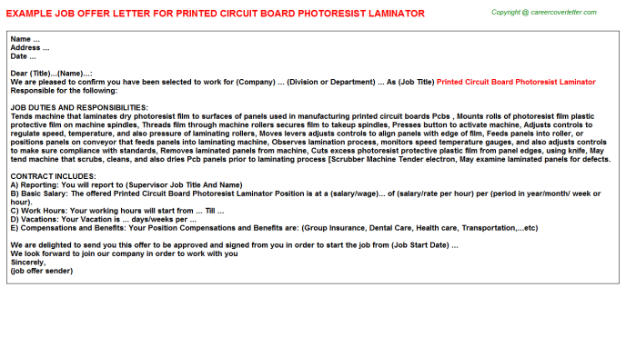 printed circuit board photoresist laminator offer letter template