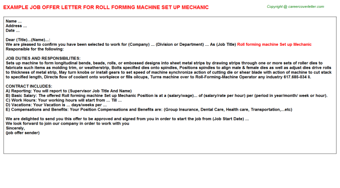 Roll forming machine Set up Mechanic Offer Letter Template