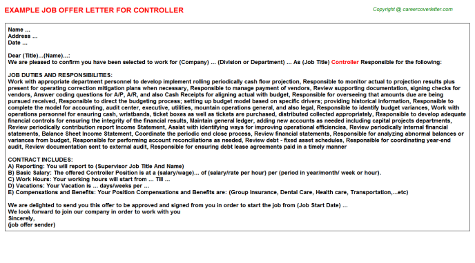 Controller Offer Letter Template