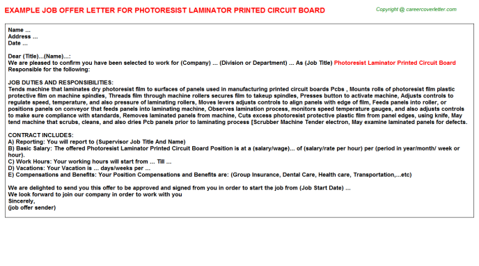 photoresist laminator printed circuit board offer letter template