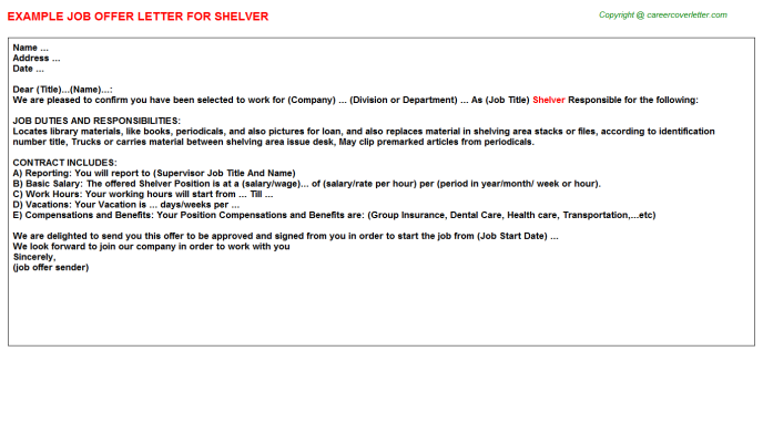 Shelver Offer Letter Template